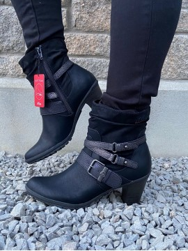 S OLIVER BLACK COMB ANKLE BOOT