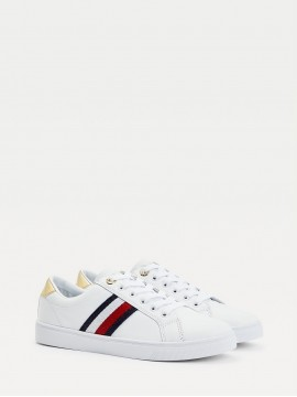 TOMMY HILFIGER WHITE LEATHER TRAINER