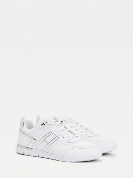 TOMMY HILFIGER WHITE AND SILVER LEATHER TRAINER