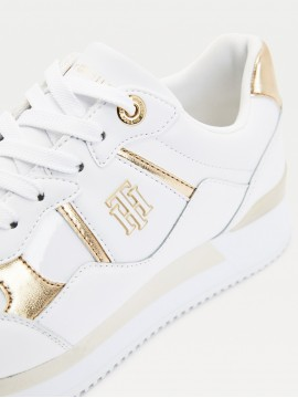 TOMMY HILFIGER LEATHER WEDGE TRAINER