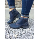 EARTH SPIRIT LADIES LEATHER  NAVY ANKLE BOOT
