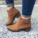 EARTH SPIRIT LADIES LEATHER ALMOND ANKLE BOOT